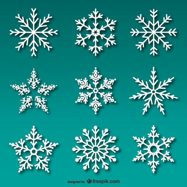 copos de nieve en vectorial – recursos gráficos gratuitos