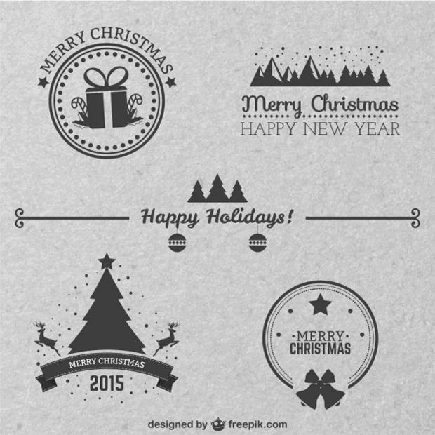 insignias navideñas clásicas en vectorial gratuito