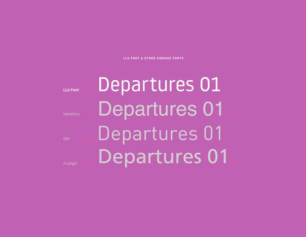 LLA, tipografía e iconos de Atipo para la identidad del aeropuerto de Luton en Londres