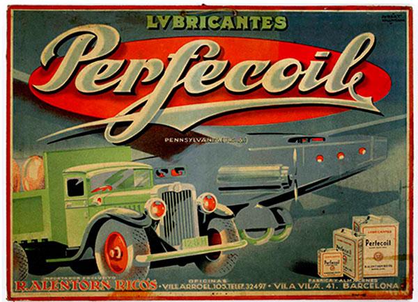 Cartel marca de lubricantes de la exposición Gráfica publicitaria y relaciones comerciales España / USA. Carteles de 1890 a 1961