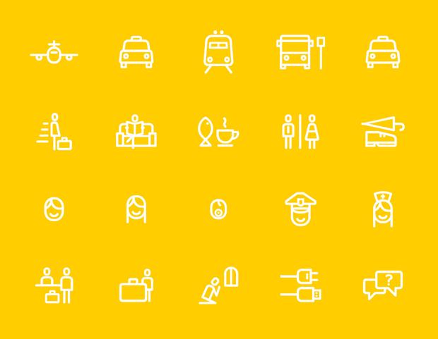iconos de Atipo para el rebranding del aeropuerto de Luton en Londres