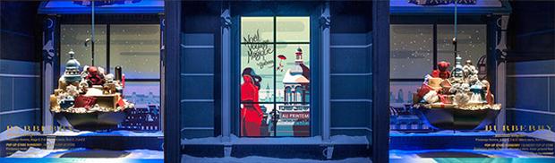 En el corazón de París, Tom Haugomat ha realizado estas ilustraciones para ambientar los escaparates de la tienda Printemps.