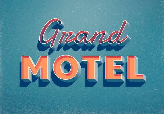 Grand Motel Text Effect - PSD gratuito para conseguir efectos de texto estilo retro