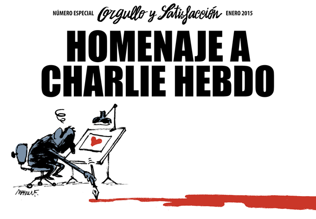 Orgullo y Satisfacción portada homenaje a la revista Charlie Hebdo