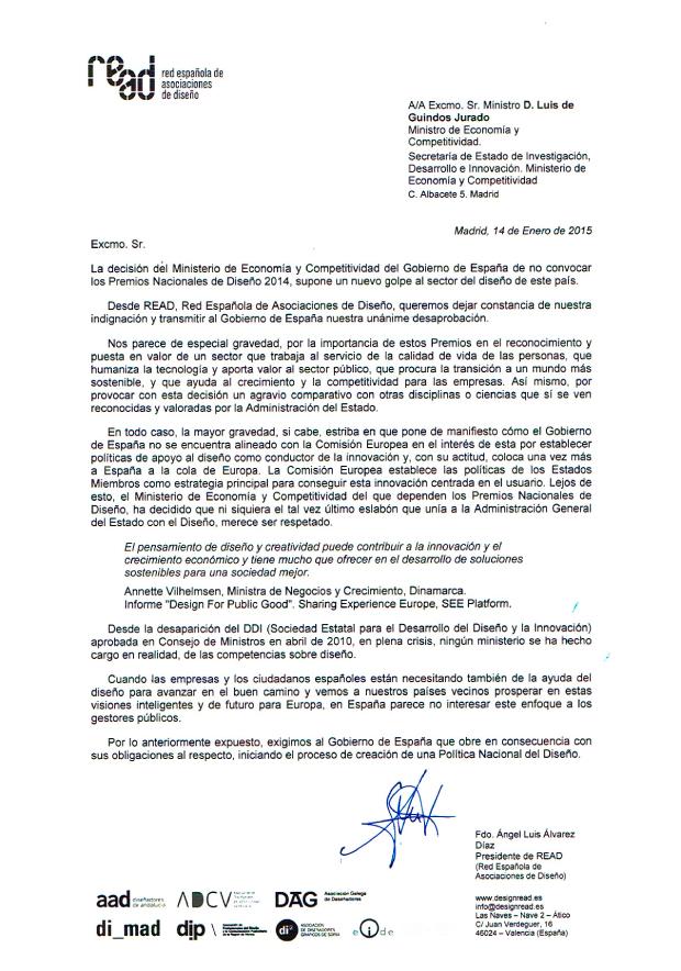 Carta abierta de READ al Ministro de Economía y Competitividad del Gobierno de España ante la decisión de no convocar losPremios Nacionales de Diseño 2014