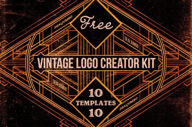 Set gratuito de 10 plantillas PSD para crear logos vintage