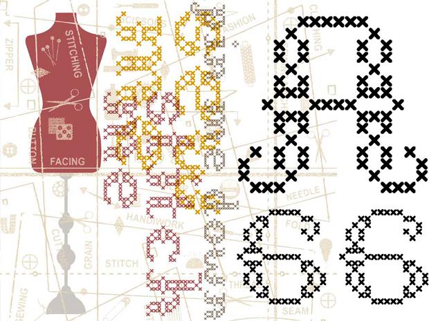 Tipografía gratuita en punto de cruz de TypeFaith Fonts