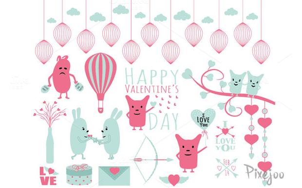 Clipart set para el día de San Valentine de Pixejoo