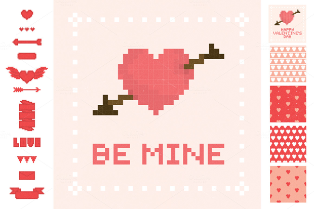 set de recursos gráficos para el día de San Valentín de Pixejoo