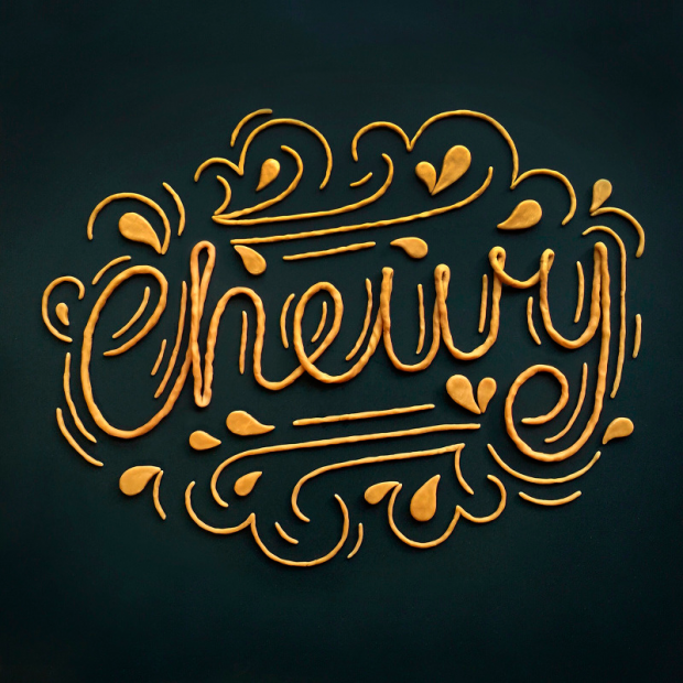lettering realizado con caramelo
