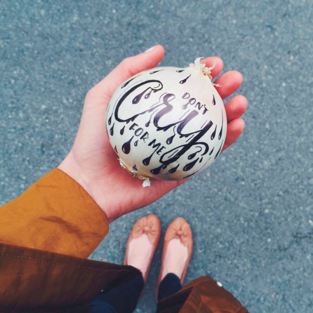cebolla tipografíada a mano