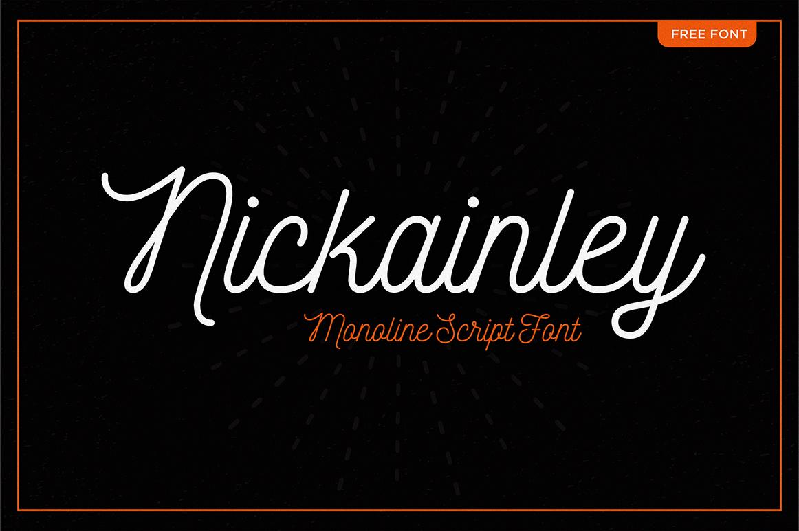 Nickainley, tipografía script monolínea gratuita de Seniors Studio