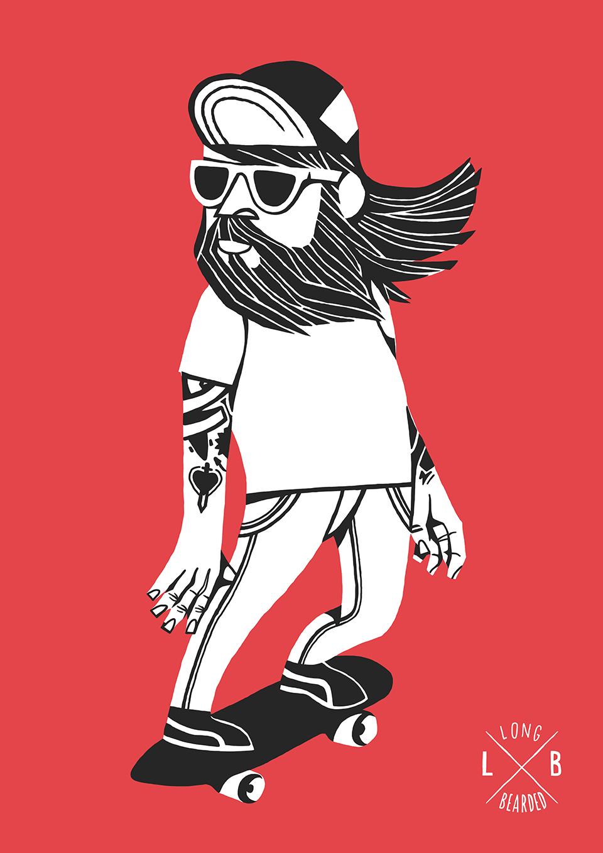 ilustración de barbudo hipster de Jorge Lawerta