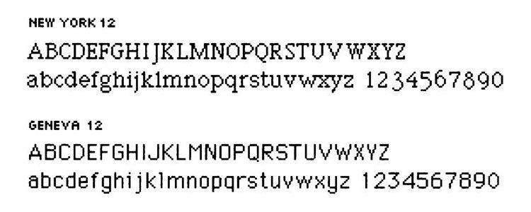 Tipografías diseñadas por Susan Kare