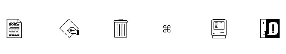 iconos para la interface del sistema Mac OS diseñado por Susan Kare