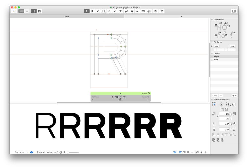 Prueba en pantalla de la «R» de Rioja  tipografía de Andreu Balius