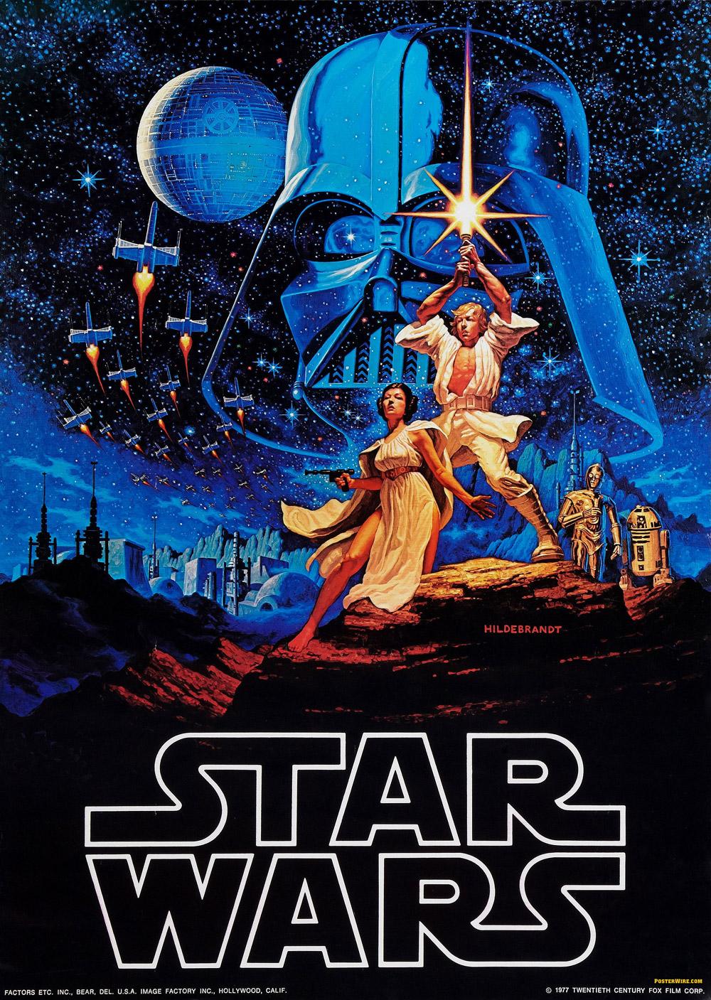 cartel original de Star Wars diseñado por los hermanos Hildebrandt