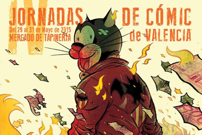 Detalle del cartel de las Jornadas de Cómic de Valencia 2015 creado por David Rubín
