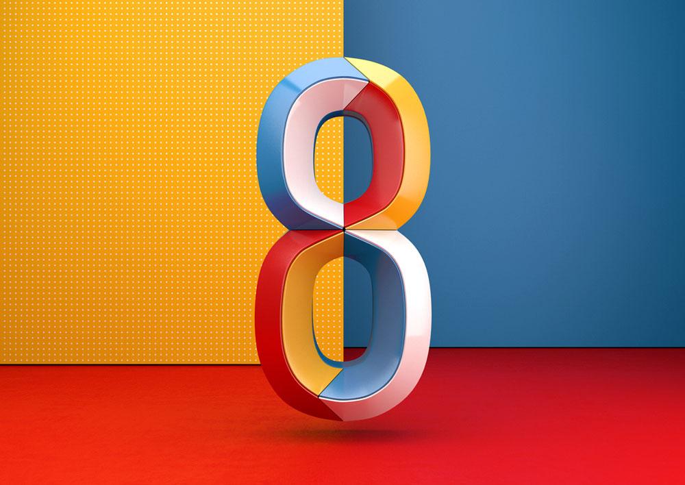 Virtuosismo en 3D. Números coloridos