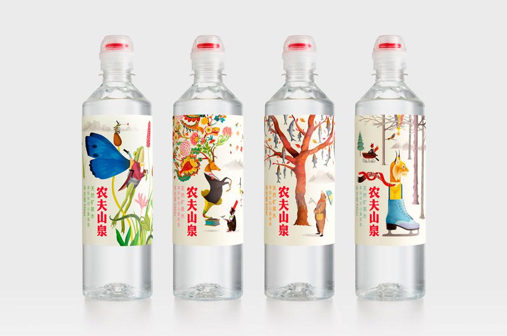 Botellas de agua ilustradas por Brett Ryder