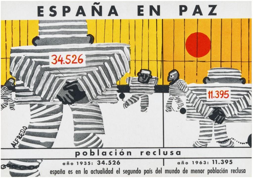 Poblacion-reclusa-en-España.-Tarjeta-postal-conmemorativa-de-los-XXV-Años-de-Paz-1964