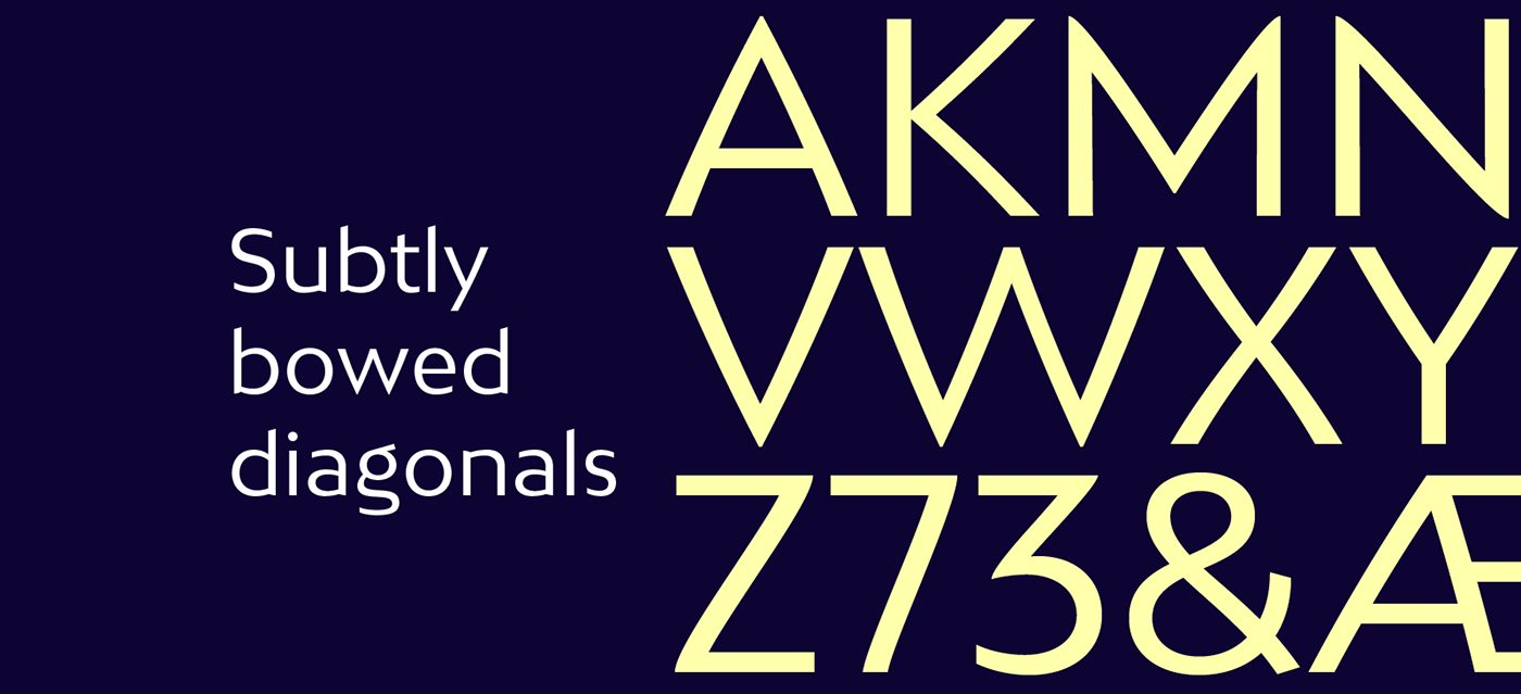 BW Mitga, la tipografía para branding compuesta por diagonales arqueadas