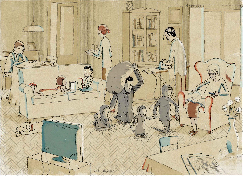 Refugio ilustrado, exposición que pone el acento en la situación del refugiado
