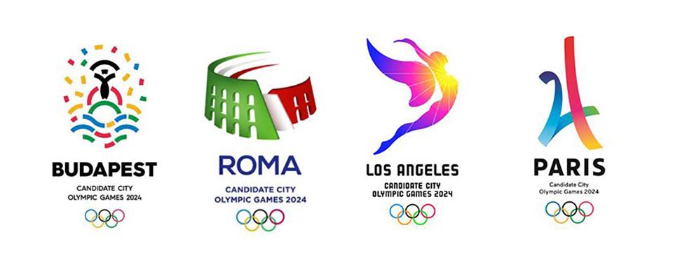 Los 4 logos de las ciudades candidatas a los Juegos Olímpicos de 2024