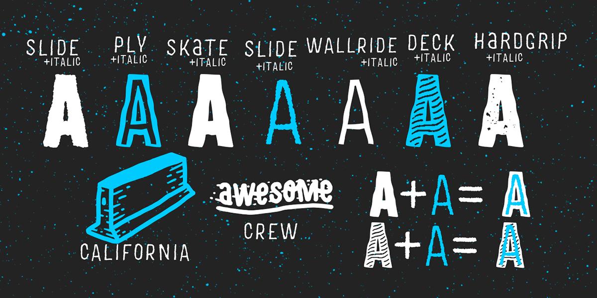 Las 'a' de la tipografía para amantes del skateboarding