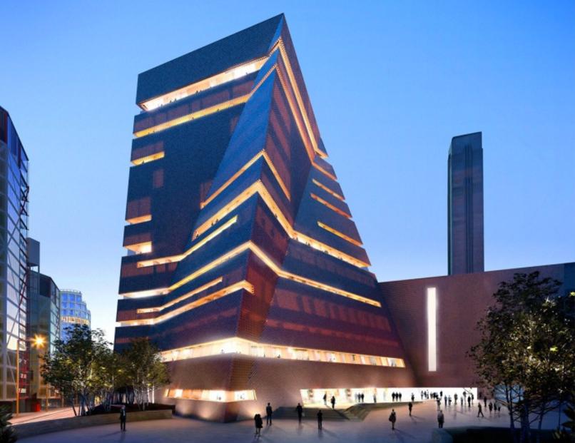 Switch House, la pirámide retorcida que amplía el Tate Modern de Londres - edificio al atardecer - 2