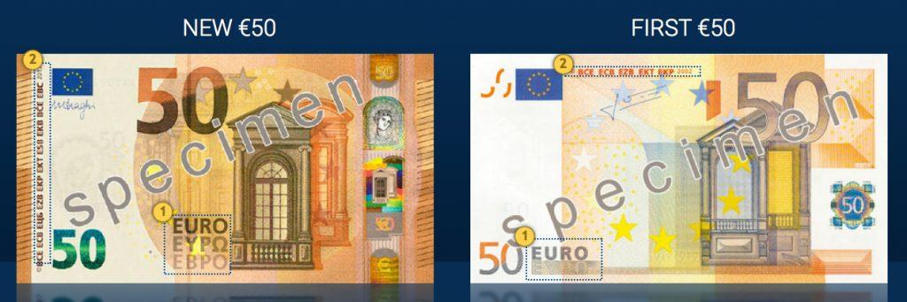 Comparación billete nuevo y antiguo de 50 €