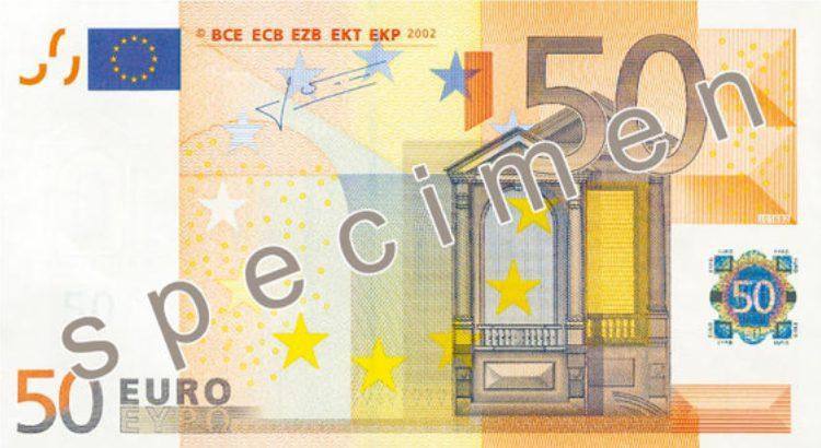 Antiguo billete de 50 € -anverso