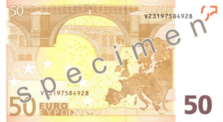 Antiguo billete de 50 € - reverso