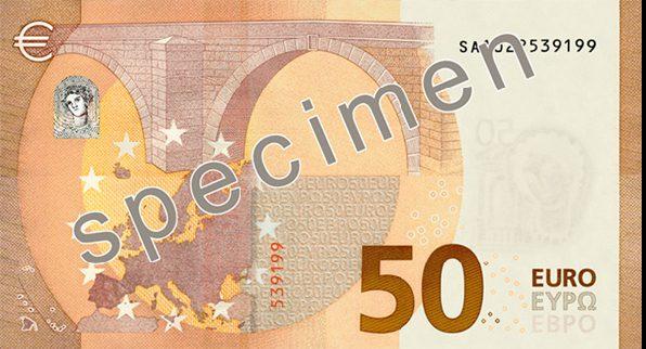 Billete nuevo de 50 € reverso