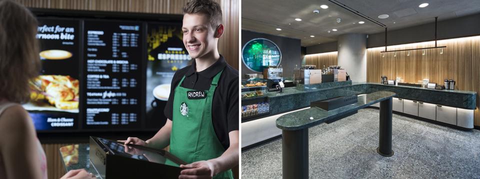 En el nuevo concepto de retail de Starbucks se elimina la implementación obvia de su logotipo y sólo se añaden escasos detalles con su símbolo. La calidad del producto y la atención al cliente son los rasgos identitarios de la marca en estos espacios.
