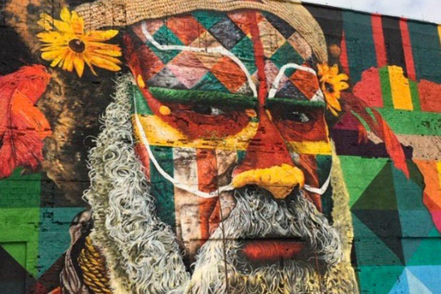 Un gigantesco mural simboliza la unión de los cinco continentes con motivo de Río de Janeiro 2016