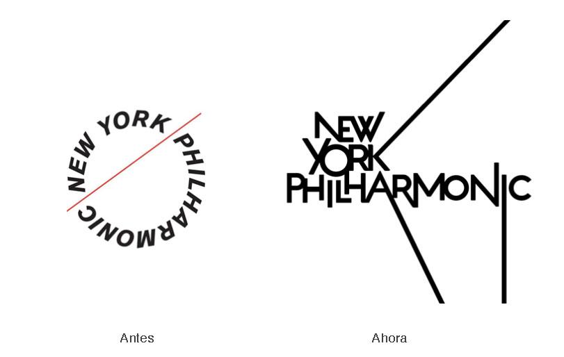 Comparación de los logotipos de New York Philharmonic antes y ahora