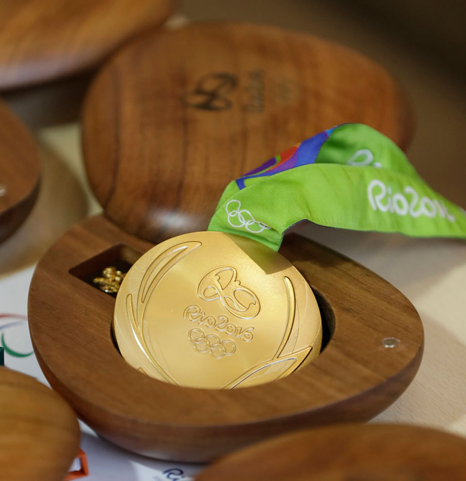 packaging de las medallas olímpicas de Rio 2016