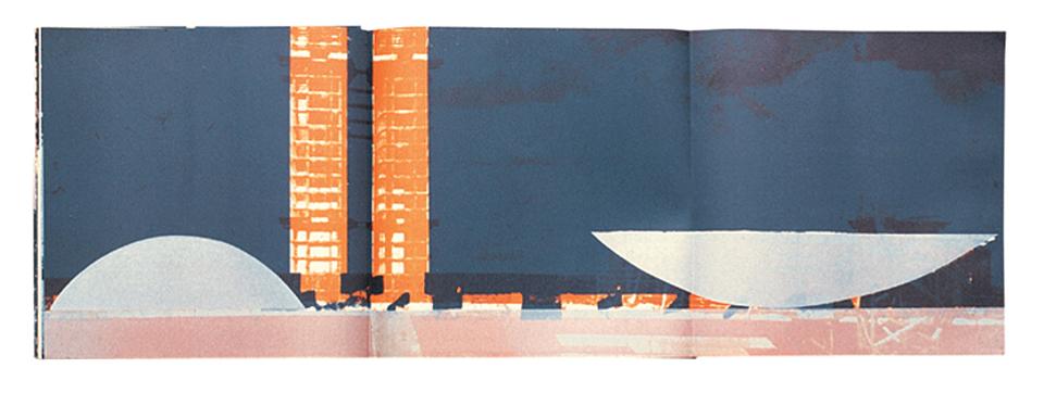 Doble página para Umbral de Brasilia, un libro que celebra la nueva capital de Brasil. Diseñado junto con Eugene Feldman. Publicado por The Falcon Press, Filadelfia, EE.UU. / 1959
