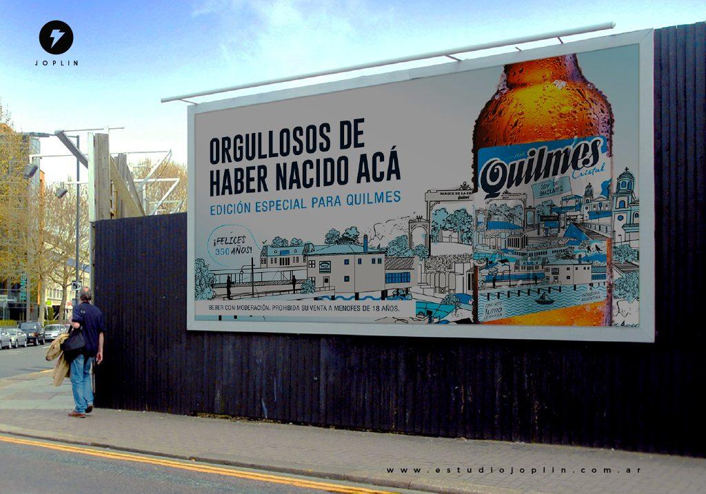 La cerveza Quilmes celebra 350 años de historia con un nuevo diseño de etiqueta - valla