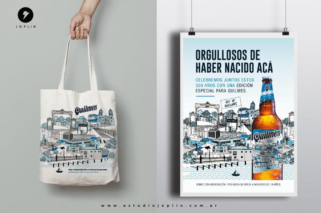 La cerveza Quilmes celebra 350 años de historia con un nuevo diseño de etiqueta - cartel y bolsa