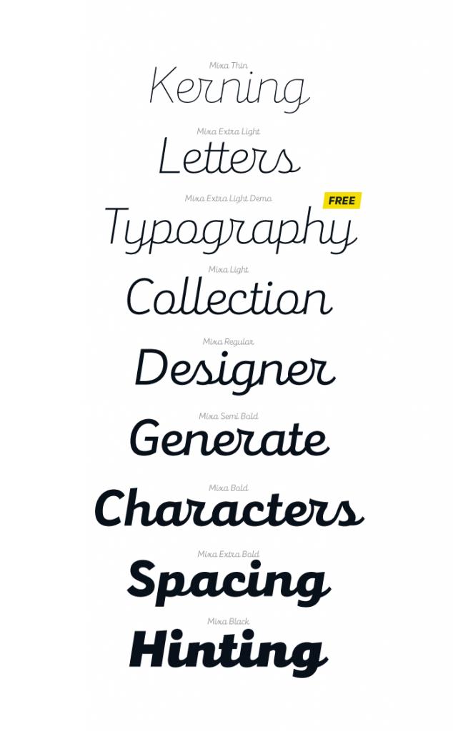 Mixa, la neogrotesca que mezcla la geometría y la caligrafía - versiones