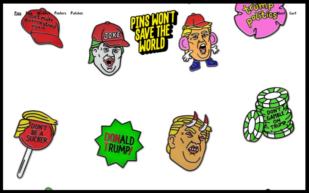 Sagmeister & Walsh la emprenden contra Trump con ilustraciones satíricas - 1 - Pins Won't Save the World