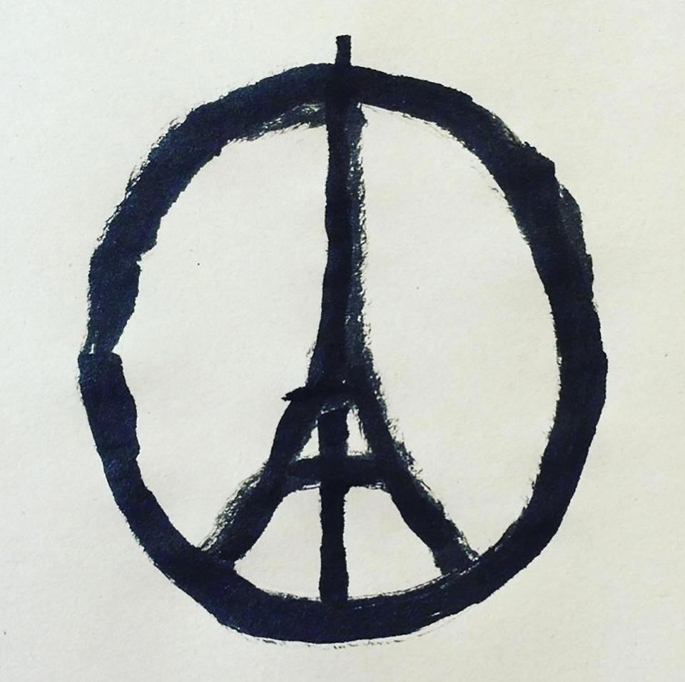 El símbolo de Jullien, una reinterpretación del símbolo de Holtom, fue tredictopic internacional y se acompañó de los hashtags #NousSommesUnis y #PeaceForParis.