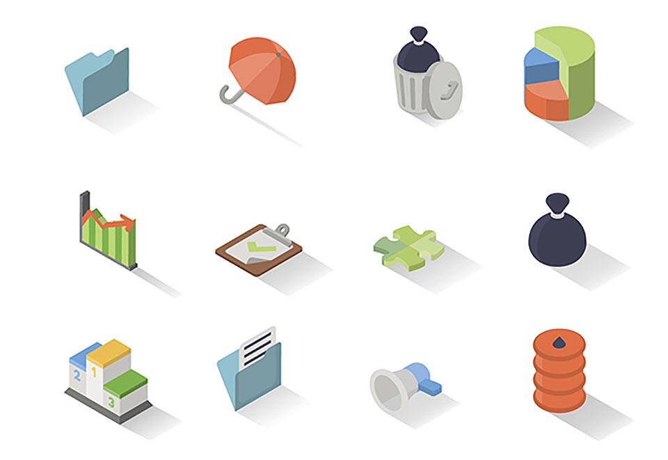 30 iconos isométricos y gratuitos del ámbito del negocio