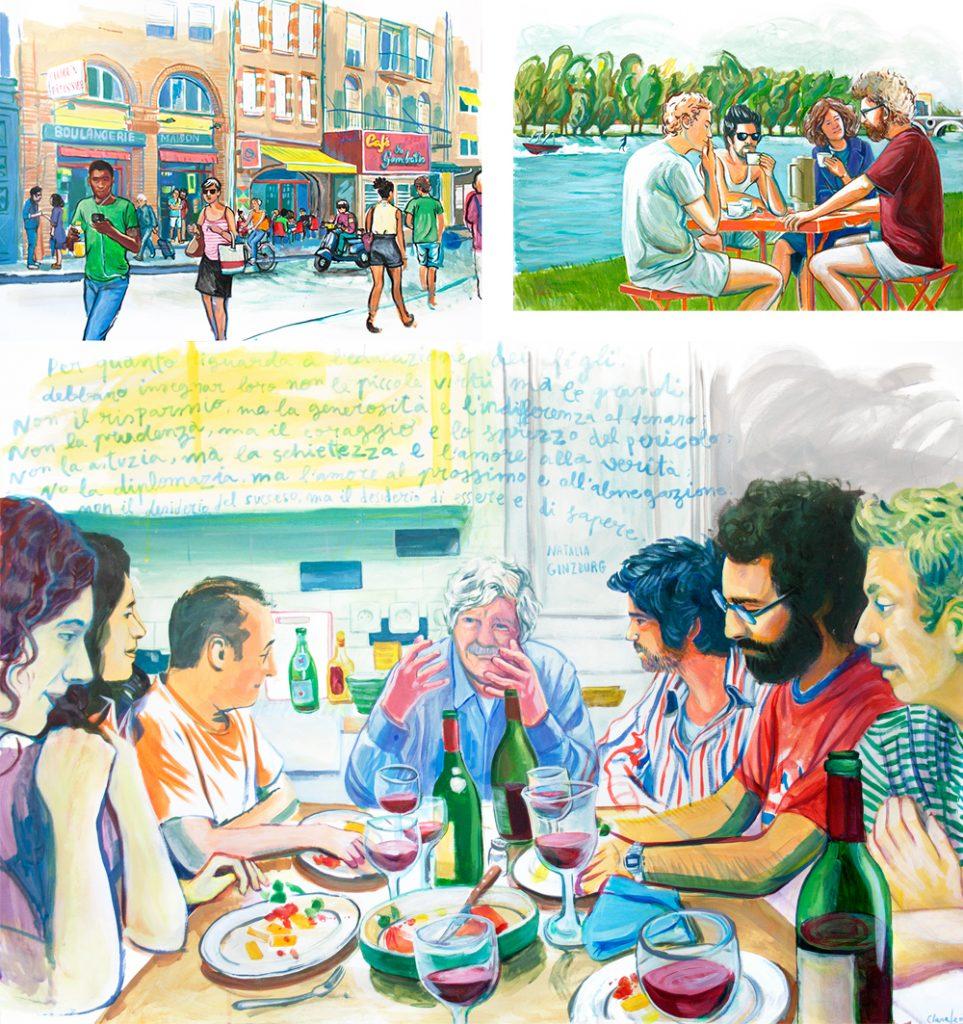 Algunos de los cuadros inspirados en la película que se expusieron en la Cineteca de Matadero, Madrid.