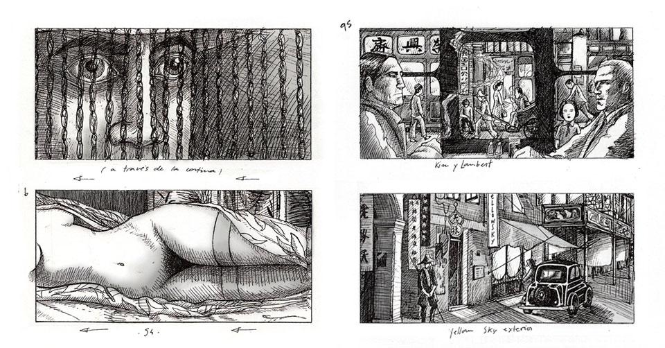 Storyboard para El embrujo de Shanghai y La reina de España (extracto del libro que publicará en breve la editorial Fulgencio Pimentel).