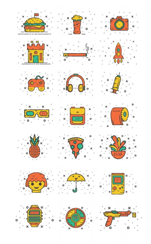 Miscelánea de iconos gratuitos con un espíritu alegre y de tendencia nostálgica 24