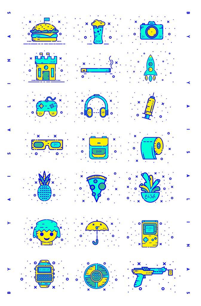 Miscelánea de iconos gratuitos con un espíritu alegre y de tendencia nostálgica 22