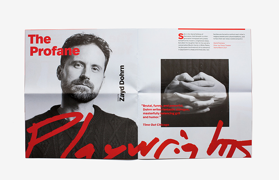 El negro, rojo, blanco, la tipografía FF Real y las fotografías en blanco y negro conforman el ecosistema gráfico de Playwrights. - 1